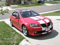 "Red G8 w/ White 11"" Rally Stripes"