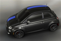 "Black Fiat 500 w/ Blue 5"" TWIN OFFSET Rally stripes set"