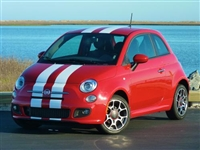 "Red Fiat 500 w/ White  6"" Plain Rally stripes set"