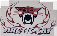Red Carbon Fiber Arctic Cat Flame 9.5x7 Decal