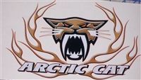 Yellow Carbon Fiber Arctic Cat Flame 9.5x7 Decal