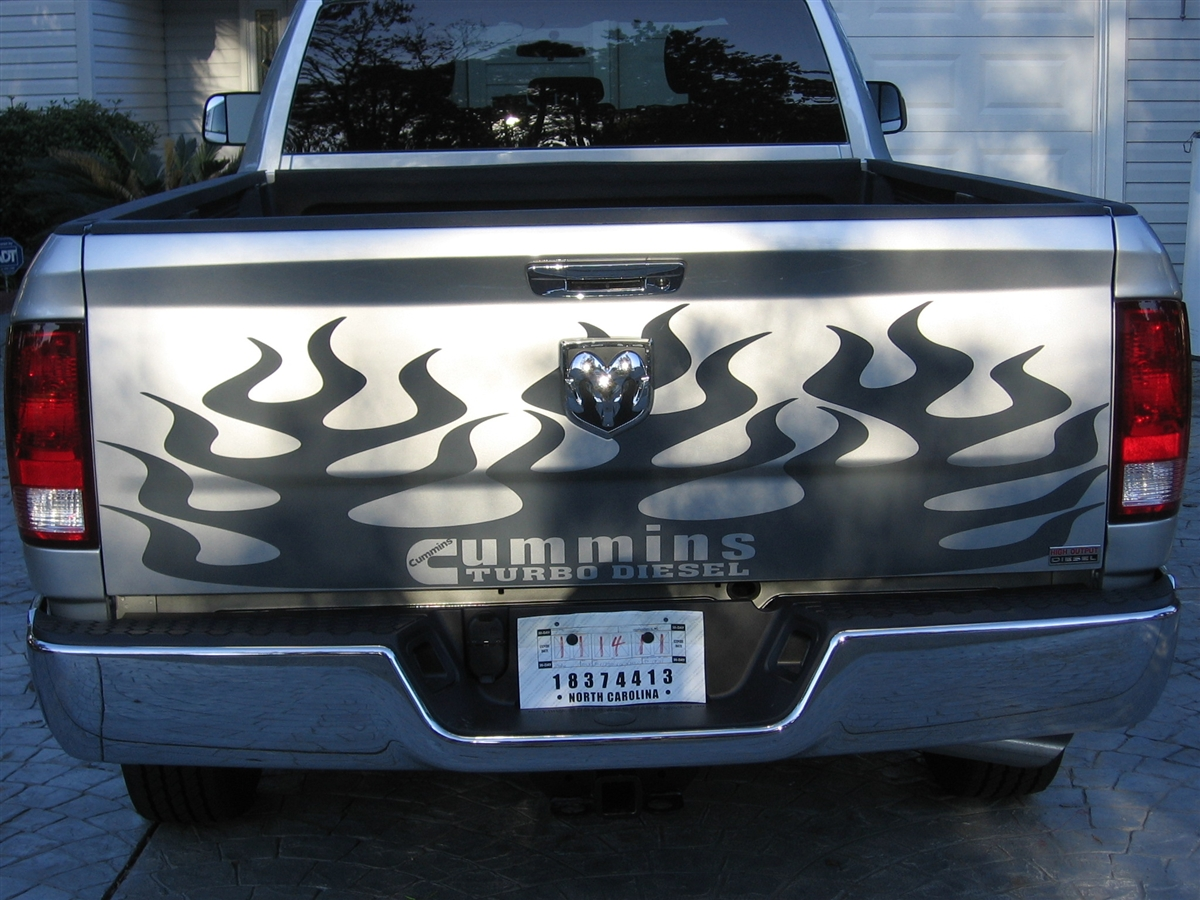 2009 2012 Dodge Ram 2500 Or 3500 Tailgate Flames Graphic Decal