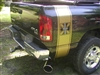 Black truck w/ Gold Your Text IRON CROSS Bed Side Stripes (Sold as a Pair)