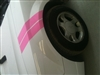 White Mustang w/ Pink Hash Mark Stripes
