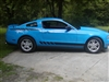 Blue Mustang w/ Black Mustang FADING Faded Rear Quarter Fender Stripe Decals