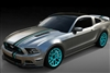 Gray Mustang w. 2 Color Offset Rally Stripes