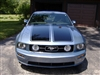 "Blue Mustang w/ Black 16"" Twin Rally Stripes"