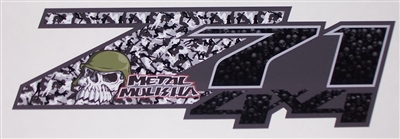 Metal Mulisha Z71 4X4 Gray logo Truck bed Side Decal set Decals Stickers