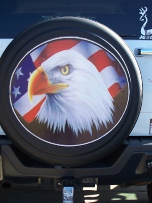 American Flag Eagle Spare Tire Cover Graphic Trailer Decal