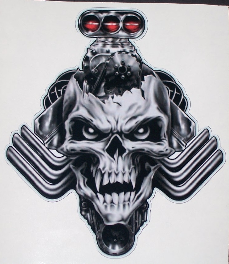 blown blower head nitro skull 8 x 9 full color tailgate graphic window decal