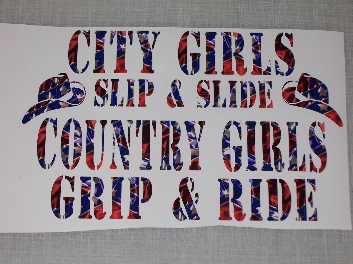 Pink Tree Wall Sticker Rebel Flag City Girls Slip Country Girl Grip Decal