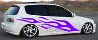 White Civic w/ Purple Flame #8 Decal Set