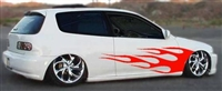 White Civic w/ Red Flame # 7 Decal