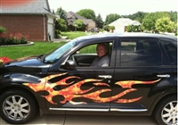 Black P/T Cruiser w/ Full Color Flames on Side