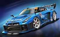 Nissan GT-R Blue Race car Wall/Trailer Decal