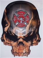 "6""X8"" Fire Department Skull Decal"