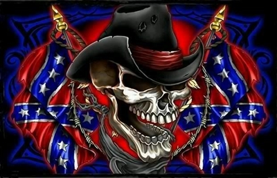 Full Color Skull Confederate Rebel Flag Wall Trailer