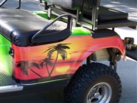 Green EZGO w/ FULL COLOR LARGE TROPICAL PALM TREE  Graphics Set