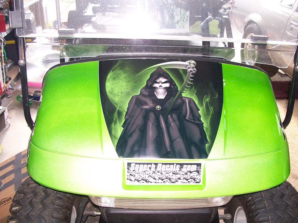 Golf Cart Full Color 19 Quot Hood Grim Reaper Skull