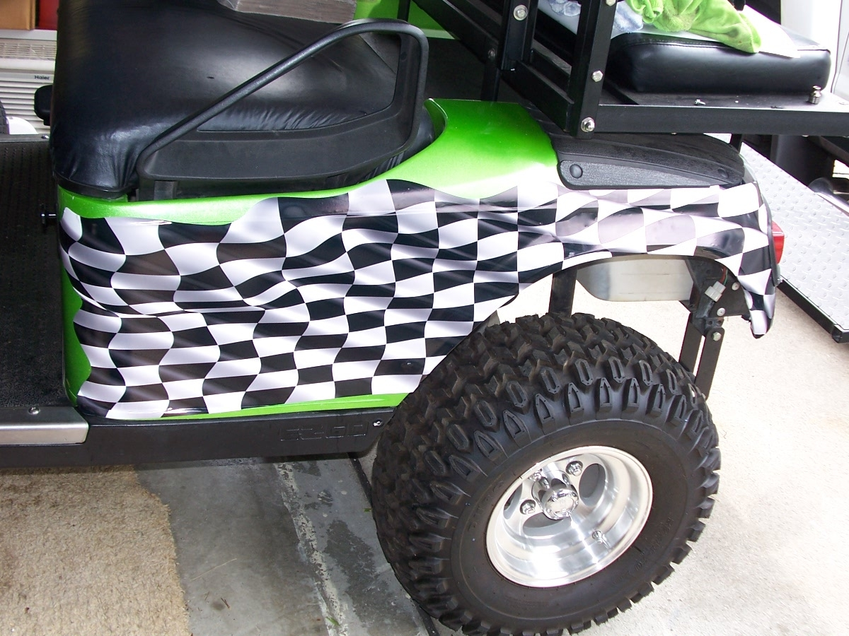 Golf Cart Full Color Large Racing Checkered Flag