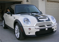 "White Mini Cooper w/ 10"" Wide Total Rally Stripe Set"