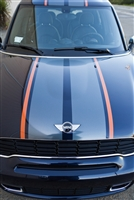 "Black Mini Cooper w/ Orange & Silver 10"" Wide Rally Stripes"