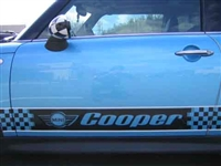 Blue Mini Cooper w/ Black Cooper Logo