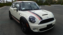 White Mini Cooper w/ 2 color Rocker Stripes