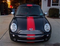"Black Mini Cooper w/ Red 12"" Single wide Hood, Roof and Boot Stripe"
