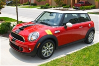 "Red Mini Cooper w/ Black 12"" Single Wide Stripe"