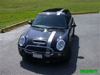 "Black Mini w/ White 5"" Rally Stripe"