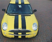 Yellow Mini Cooper w/ Black Rally Stripe set