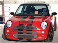 "Red Mini Cooper w/ Black 8"" Rally Stripe Set"
