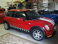 Red Mini Cooper w/ Racing Check Side Stripes