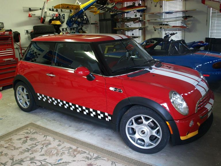 Mini Cooper And S 2006 Auto Show Style Two Color Racing Check Side Stripes