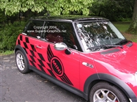Red Mini Cooper w/ Black Racing Check Side Decal
