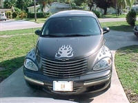 Black PT Cruiser w/ Flame Hood Decal