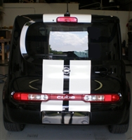 "Black Nissan Cube w/ White 10"" Plain Rally Stripes"