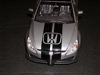 Silver Honda w/ Black Rally Stripe Set
