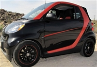 Black Smart Car w/ Red Door Accent Stripe