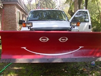Red Snow Plow w/ Gold Smiley Face