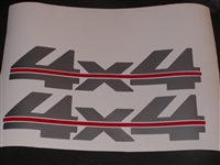 "LARGE 4x4 # 2 Two Color (Silver w/ Red Stripe)Bed Decal 4"" X 17"" GMC CHEVY"