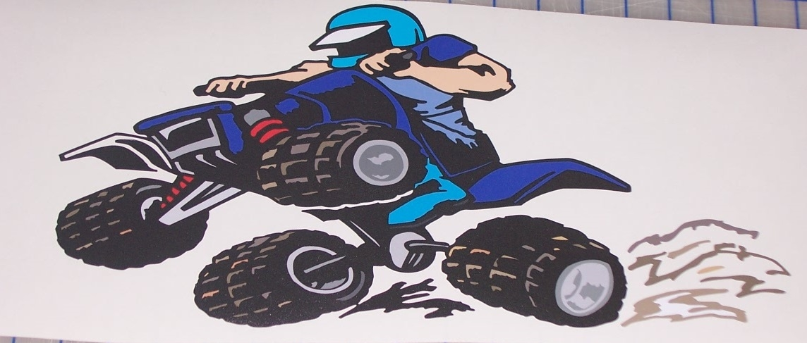 Full Color Printed Quad Atv Racing Wall Graphic Decal