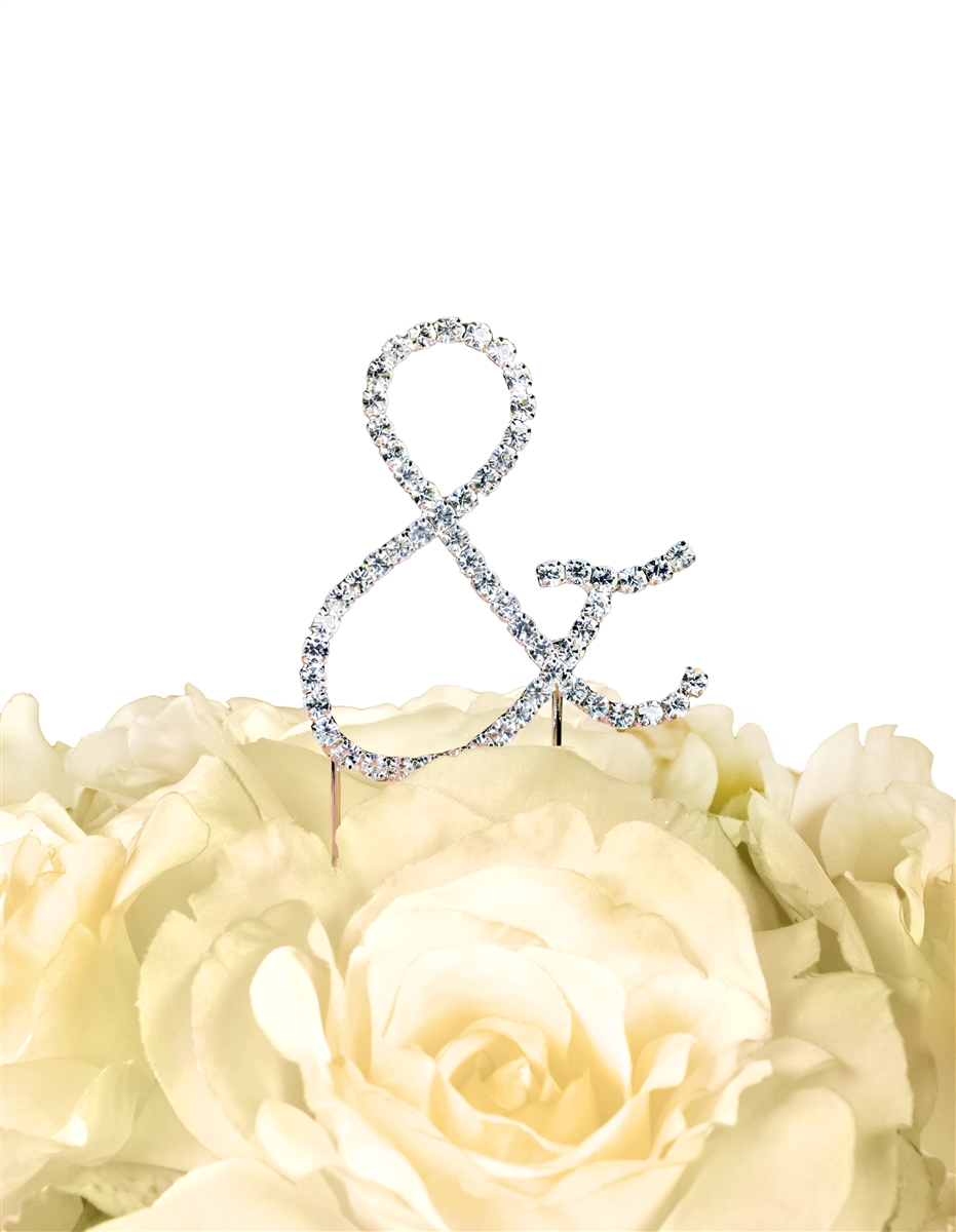 Simply Elegant Collection Rhinestone Monogram Cake Topper in Silver ...