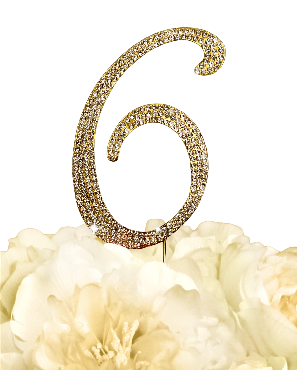 Sparkling Collection Rhinestone Monogram Cake Topper in Gold - Number 6