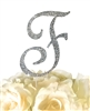 Sparkling Collection Rhinestone Monogram Cake Topper in Silver - Letter F