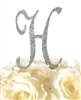 Sparkling Collection Rhinestone Monogram Cake Topper in Silver - Letter H