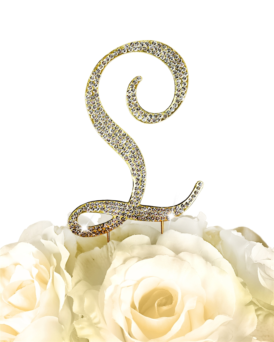 Sparkling Collection Rhinestone Monogram Cake Topper in Gold - Letter L