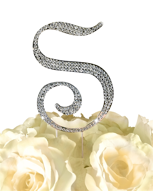 Sparkling Collection Rhinestone Monogram Cake Topper in Silver - Letter S