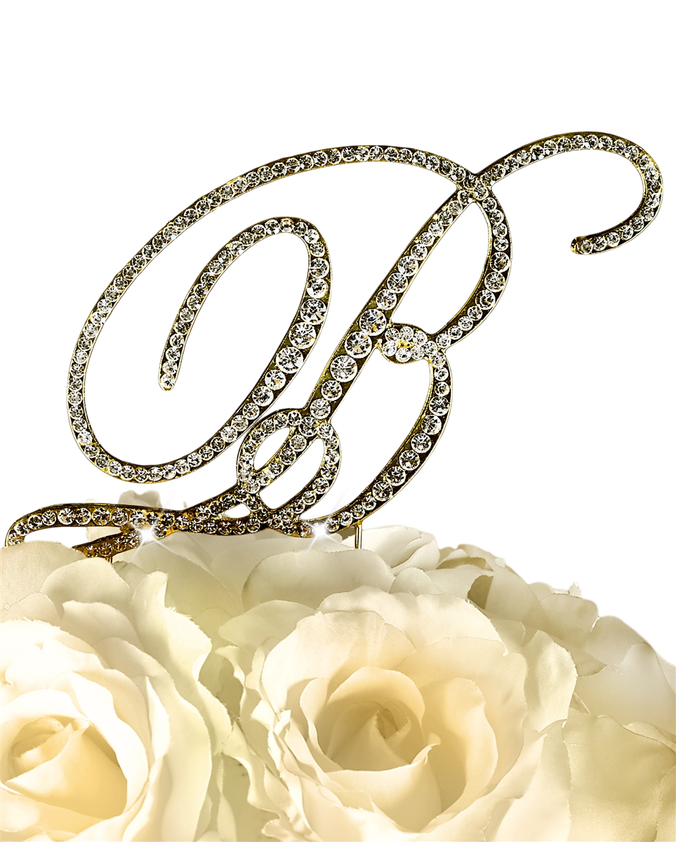 Victorian Collection Rhinestone Monogram Cake Topper in Gold - Letter B